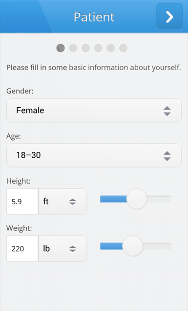 Patient information can be collected, including gender and age