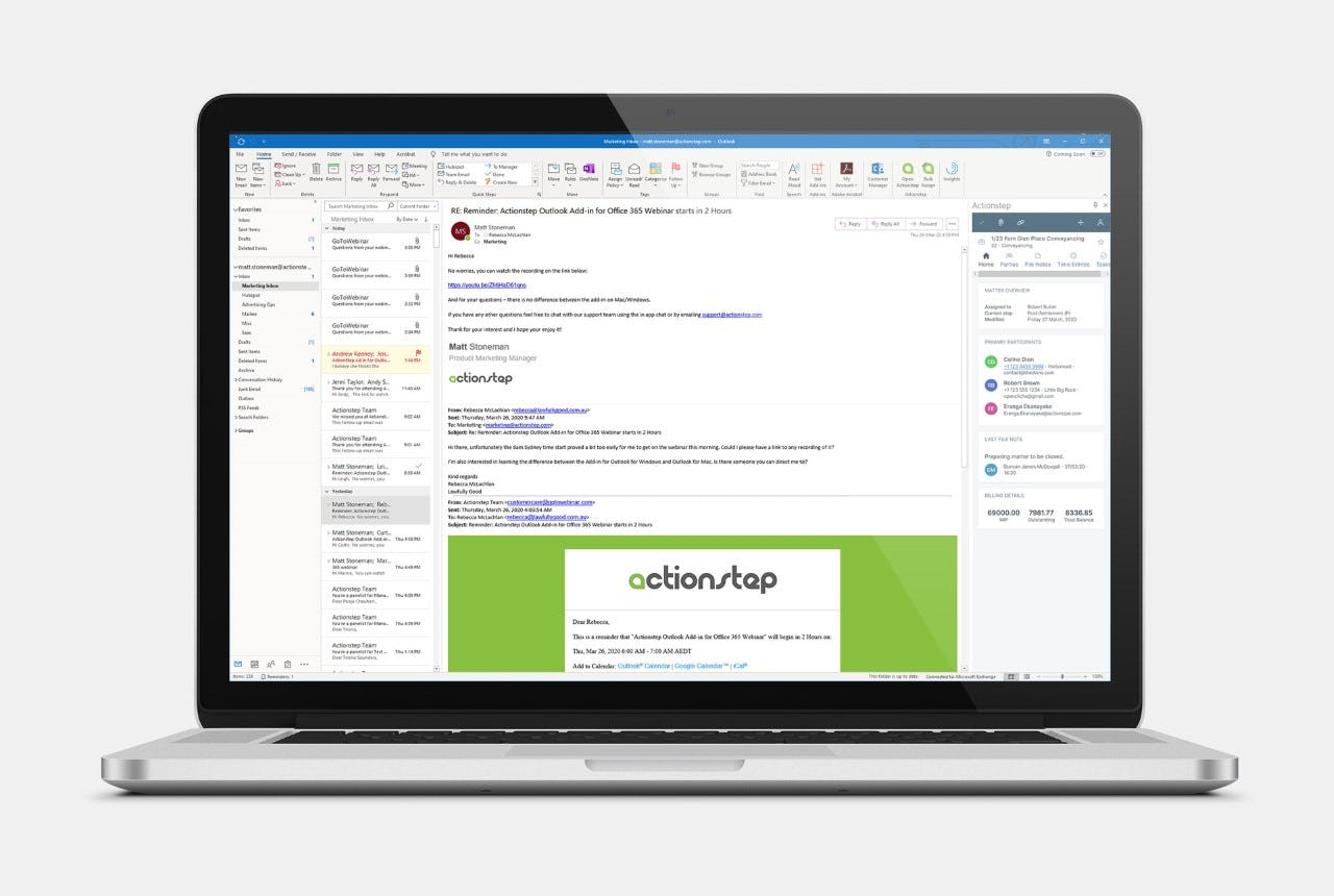 Actionstep Software - Actionstep reminders via email