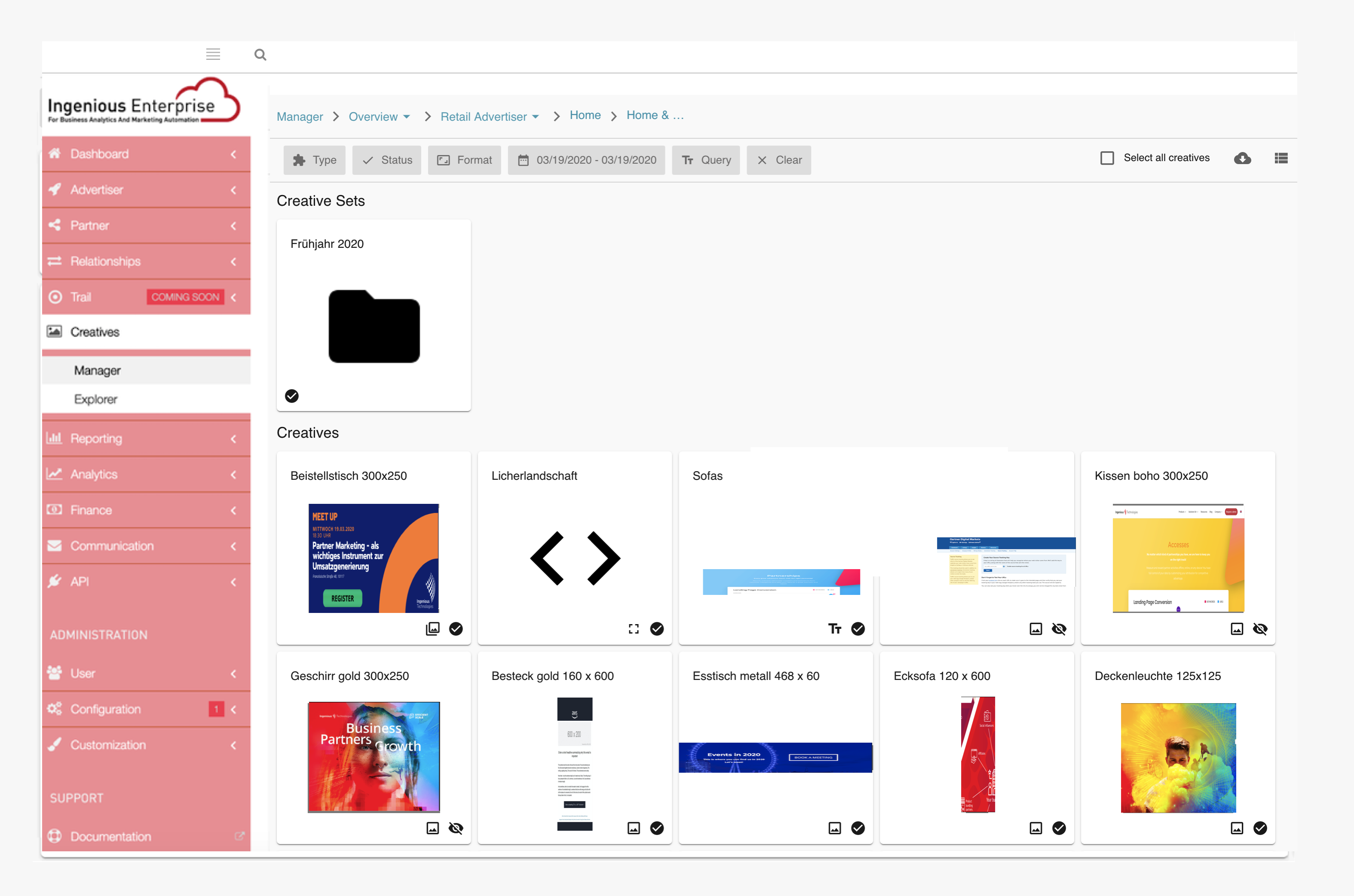 Ingenious Partner Marketing Platform content management