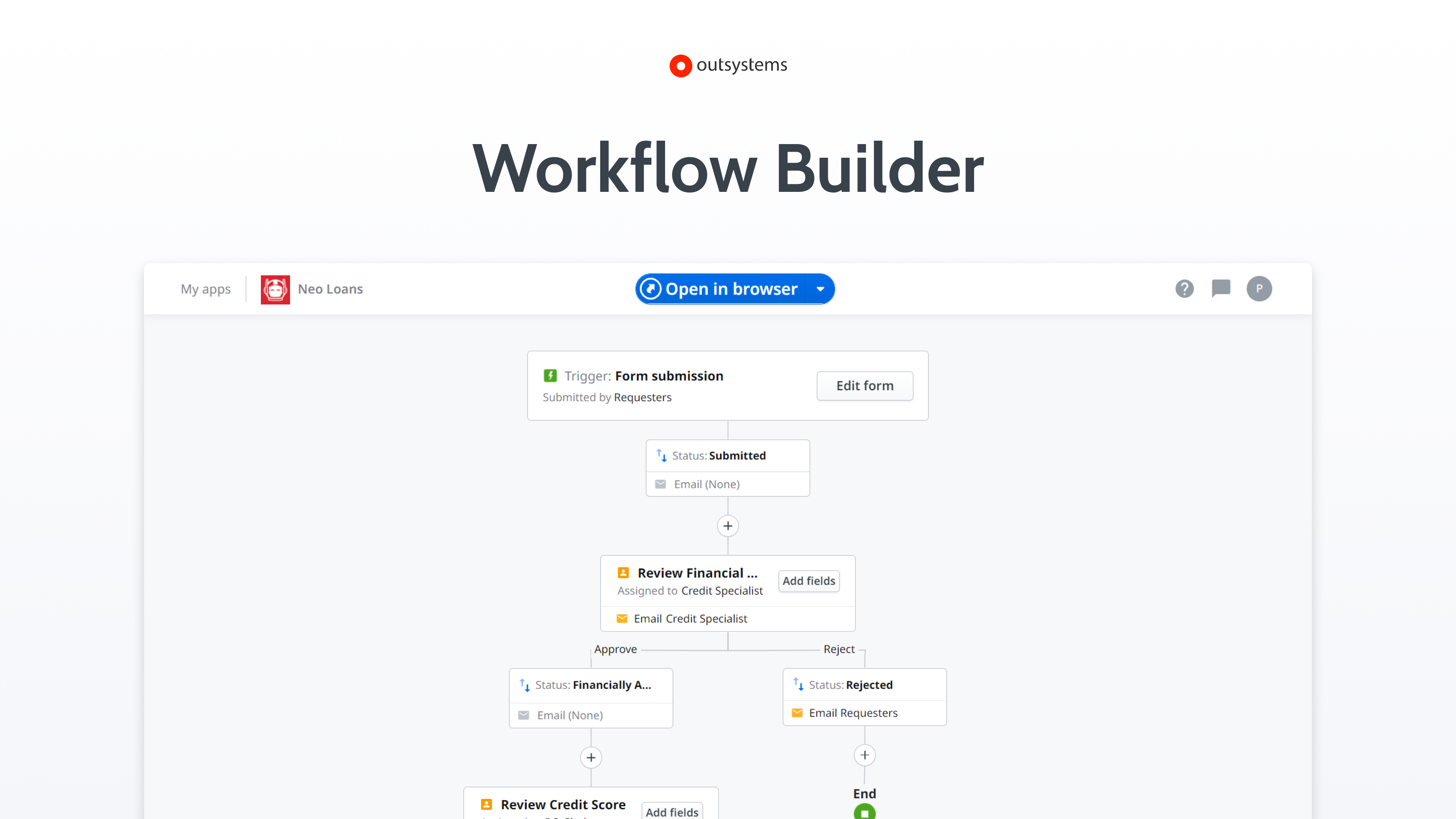 Workflow Builder: Empower business experts to turn ideas into apps in minutes.