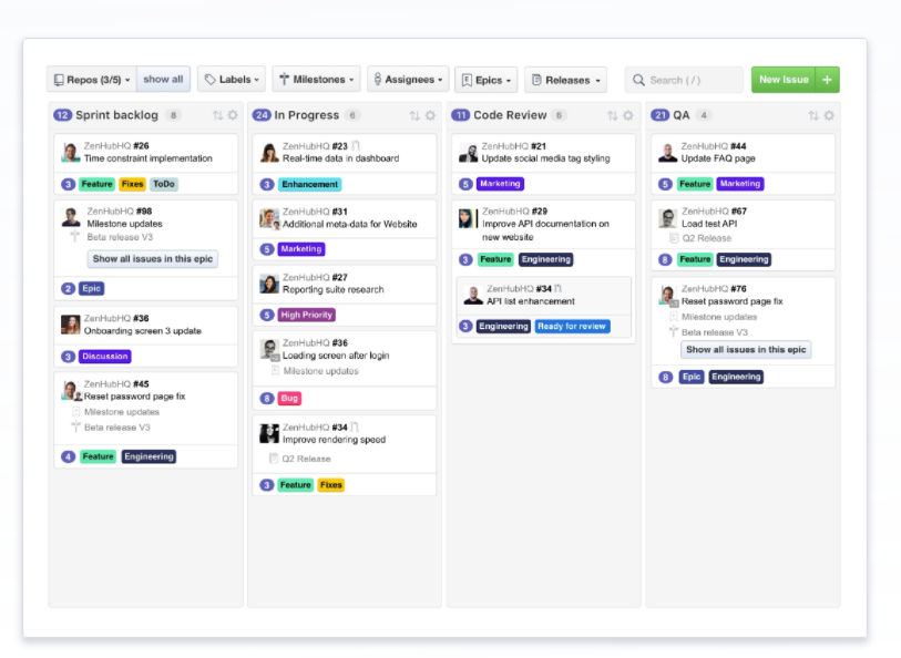 ZenHub Software - Drag and drop issues between pipelines, identify blockers, and prioritize what matters most using task boards