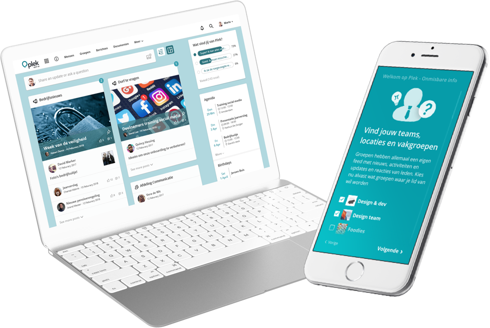 Plek connects people across teams, departments and organizational boundaries. On any device!