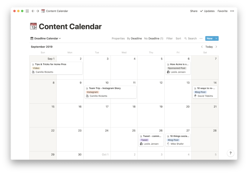 Notion Software - Notion content calendar