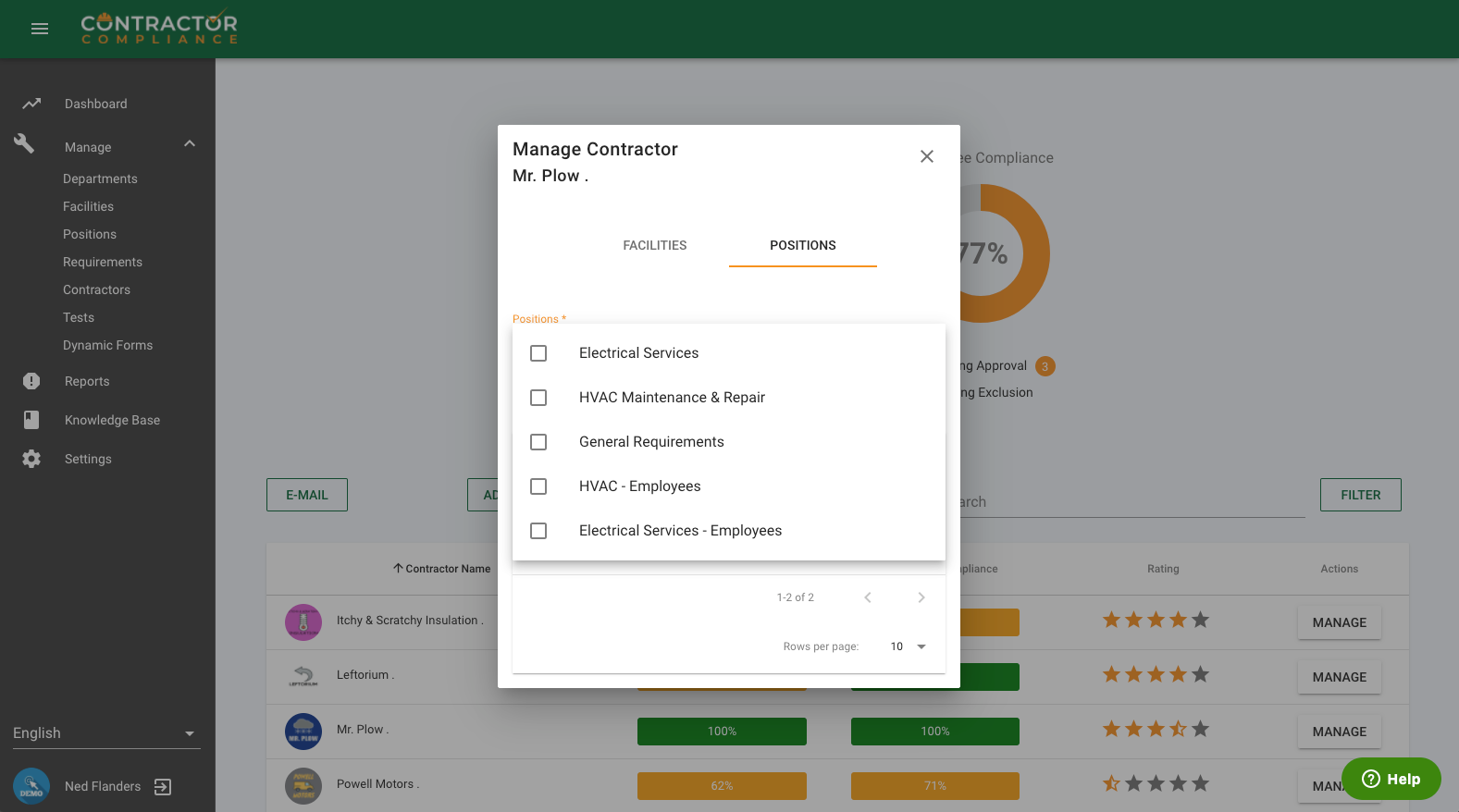 Easily assign tasks to contractors in only a few clicks.