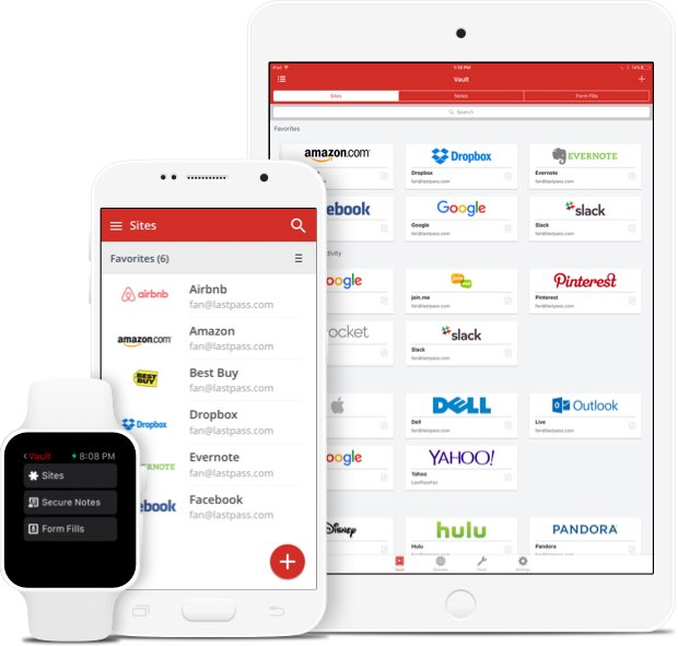 LastPass can be accessed from any device and users can link their business and personal accounts