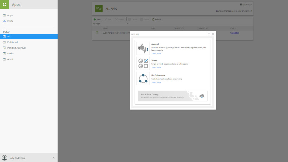 Users can build custom applications and view them on the dashboard