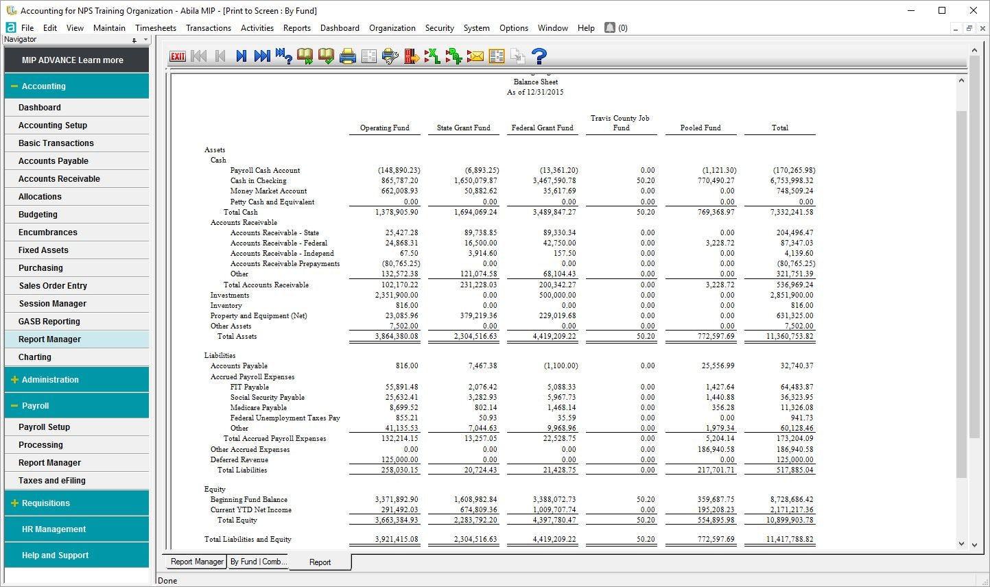 MIP Fund Accounting Software - Balance sheet