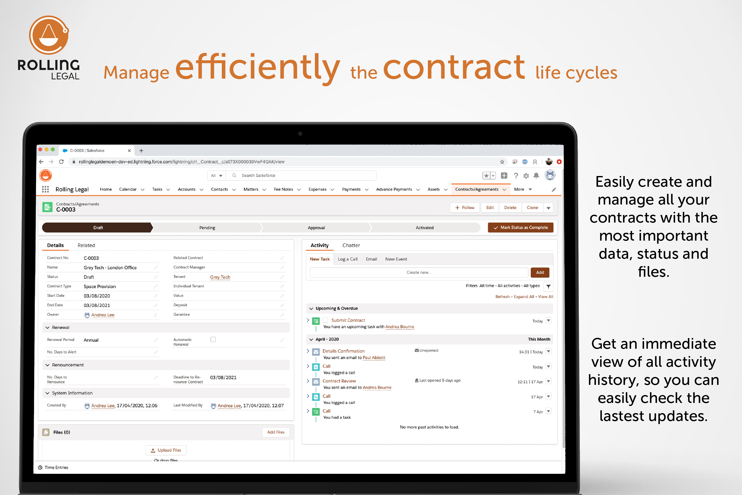 Rolling Legal: Manage efficiently the contract life cycles!