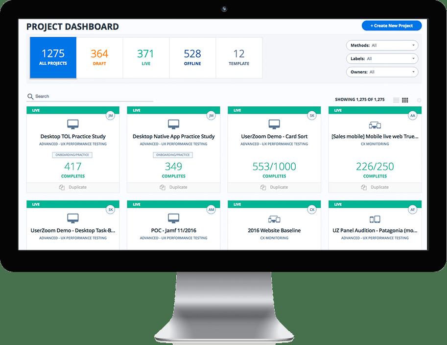 UserZoom screenshot: UserZoom project dashboard