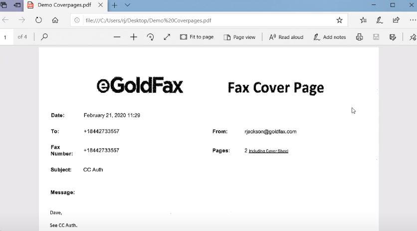eGoldFax view documents