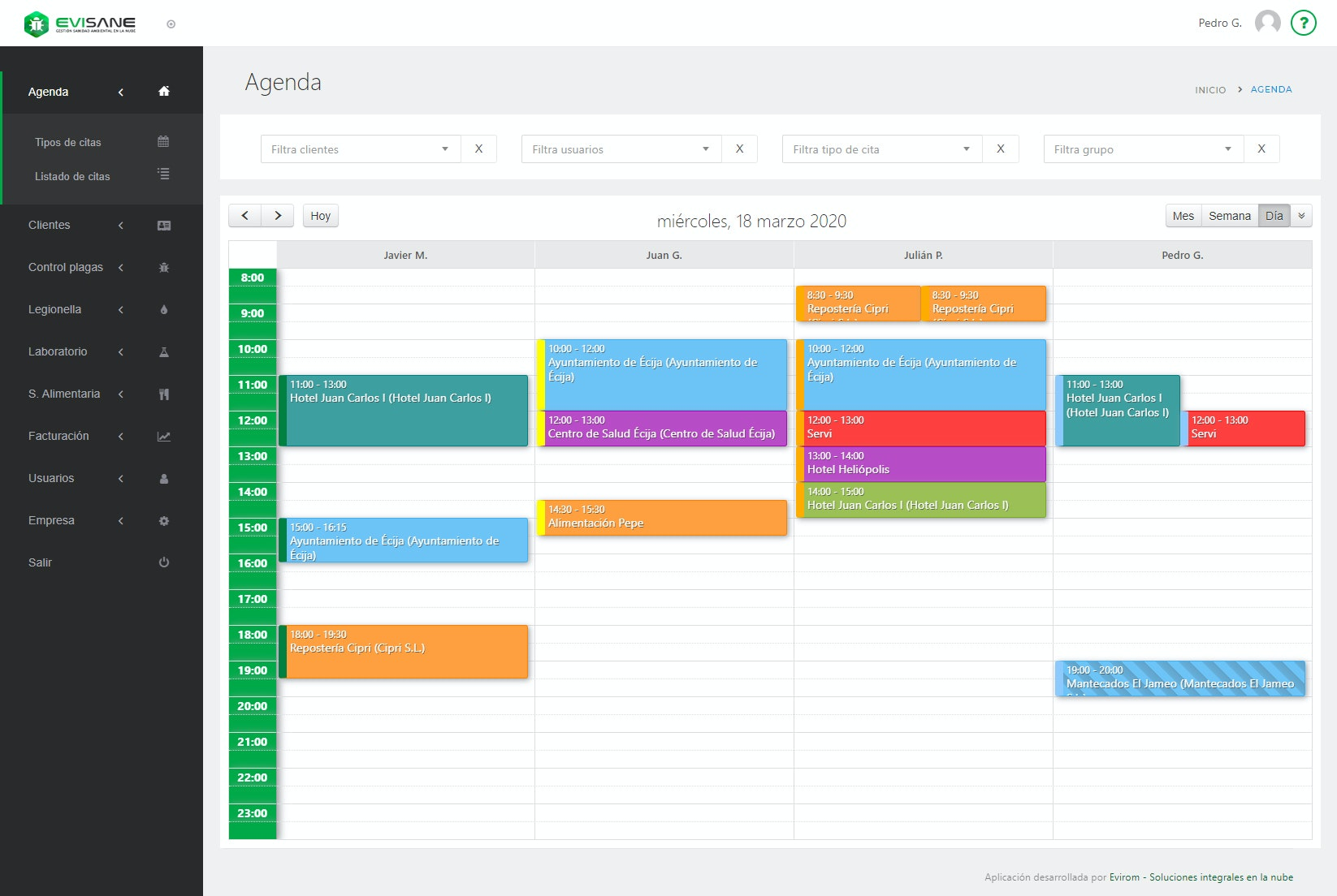 EviSane  screenshot: Agenda