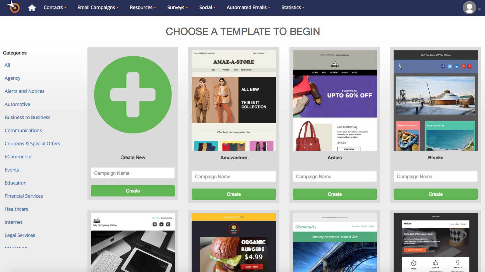 Pinpointe screenshot: A large variety of easily editable drag and drop templates