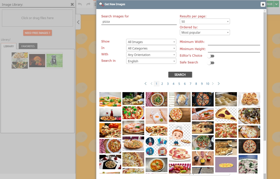 Utilize FireDrum's free image database to add ready-made content to email campaigns.