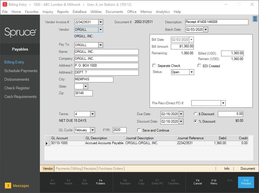 Spruce Software - Payables Billing Entry