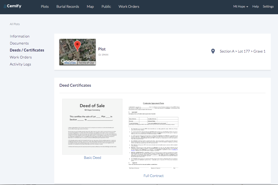 Users can create, print, and store deed certificates for plots