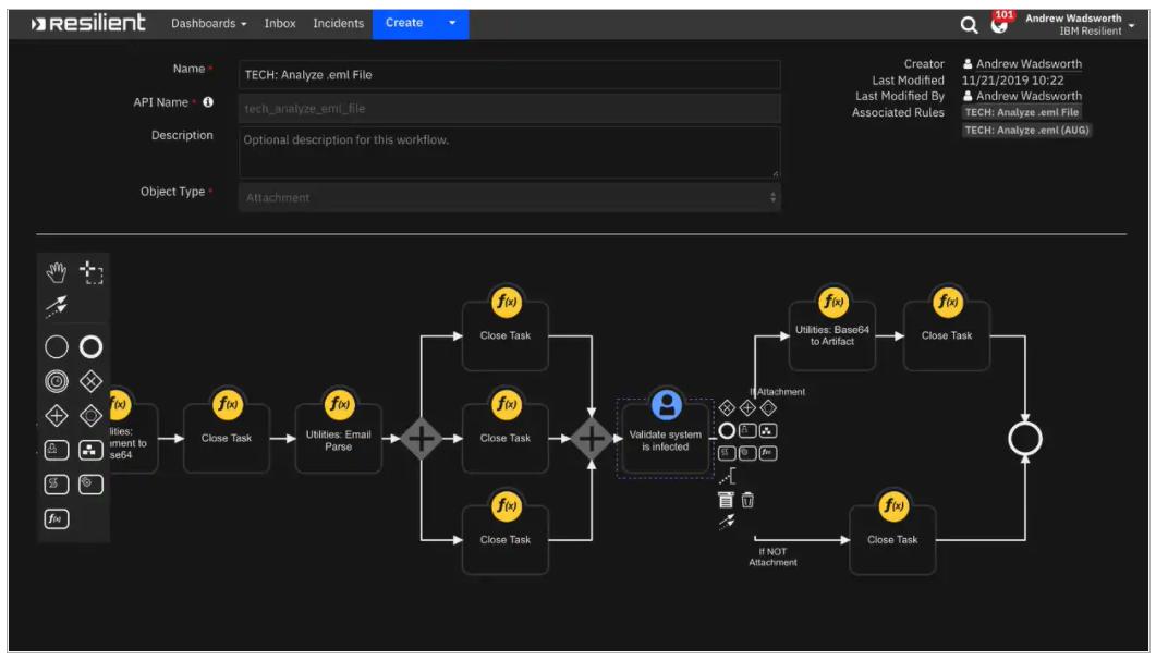 IBM Security SOAR workflow editor