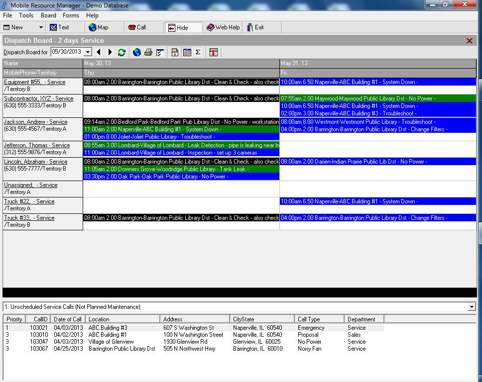 Create a variety of dispatch board views including hourly, 2 days, 7 days, and 2 weeks.