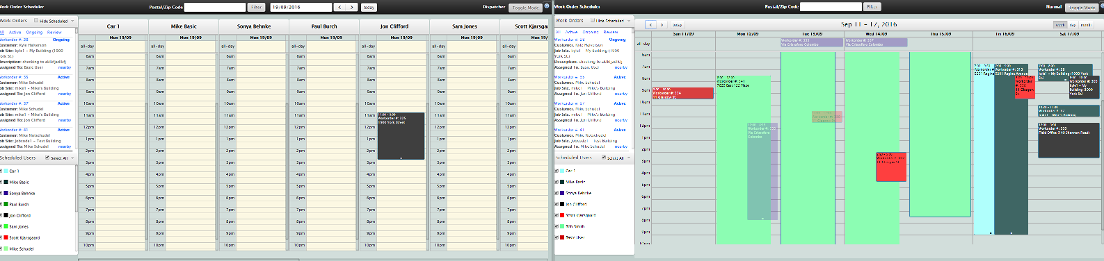 Scheduler with multiple views – including dispatcher mode