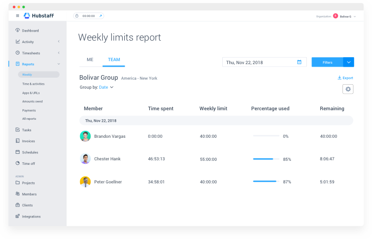 Weekly limit reports