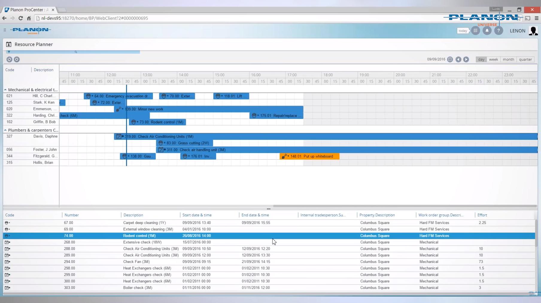 Planon Universe resource planner screenshot