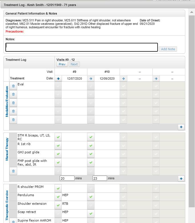 AgileEMR treatment log