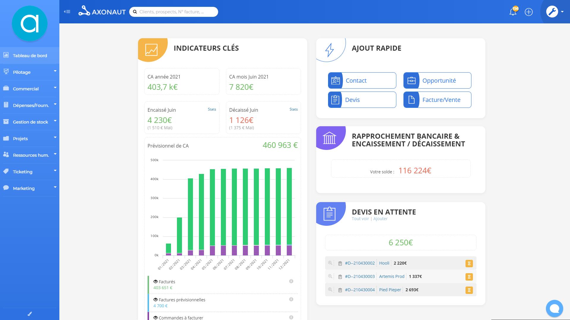 Axonaut Software - Gardez l'œil sur votre activité. Profitez d'un tableau de bord complet et personnalisable.