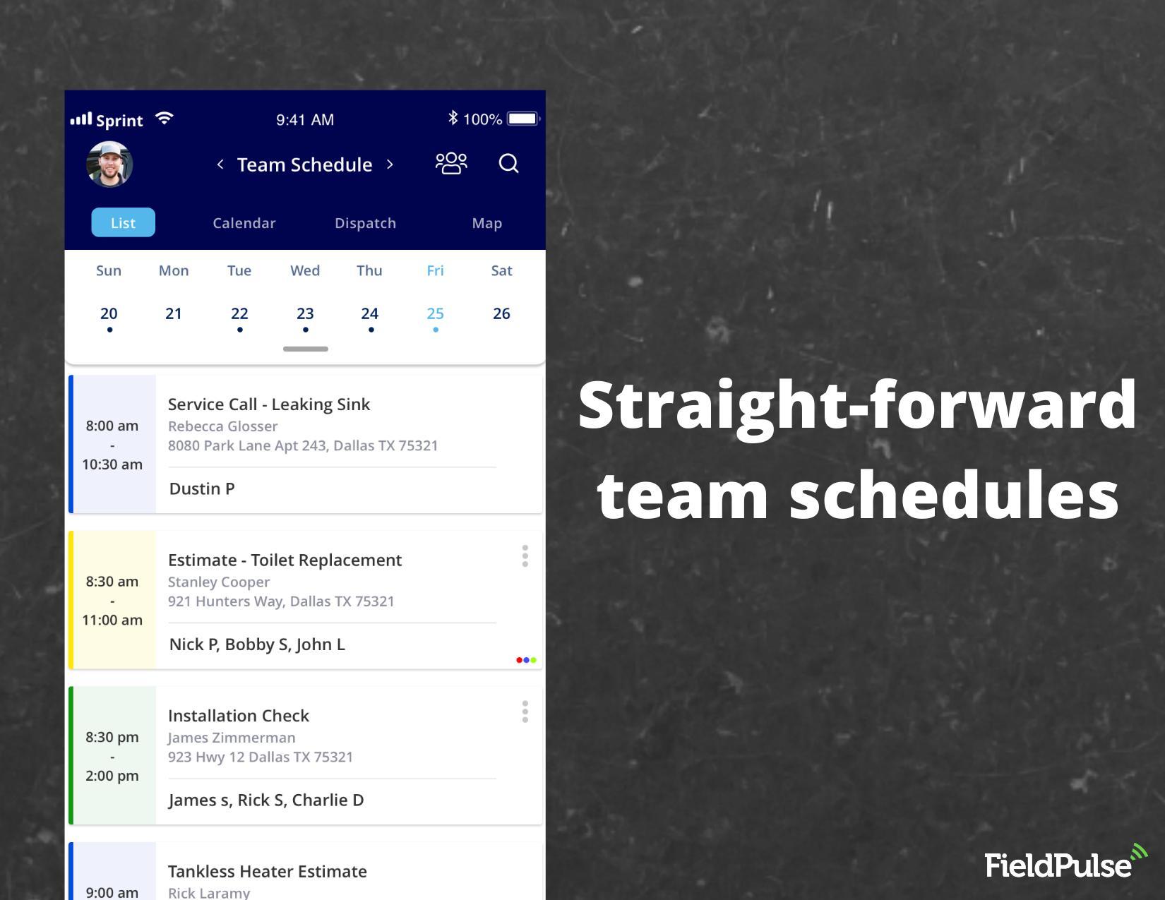 FieldPulse Software - Easily view team schedules