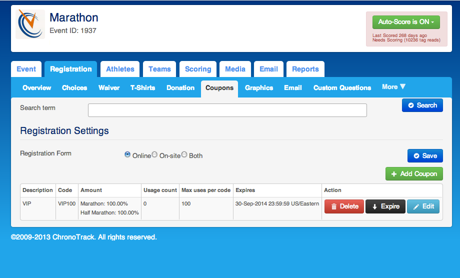 ChronoTrack Software - ChronoTrack registration settings and coupon codes