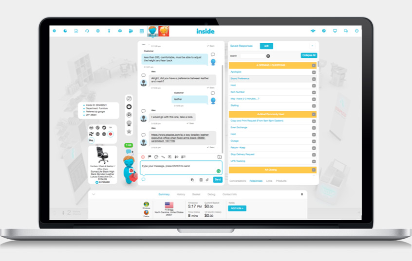 INSIDE provides a chat platform for eCommerce businesses to interact with customers and potential leads, with personalized content and response templates