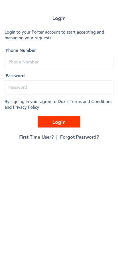 Porter App - Login Screen