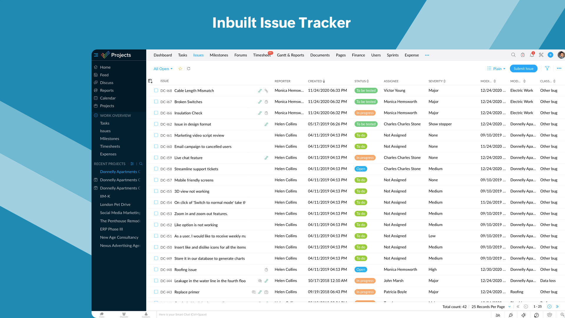 Inbuilt Issue Tracker - You can log, organize, track, and fix any problems. Features such as status and workflow, can be customized to suit the exact needs of your project.