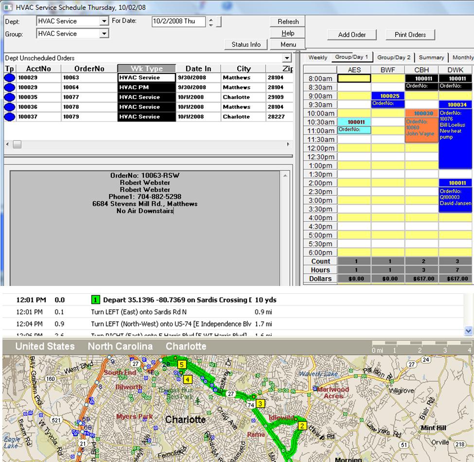 ServMan Software - Dispatch board