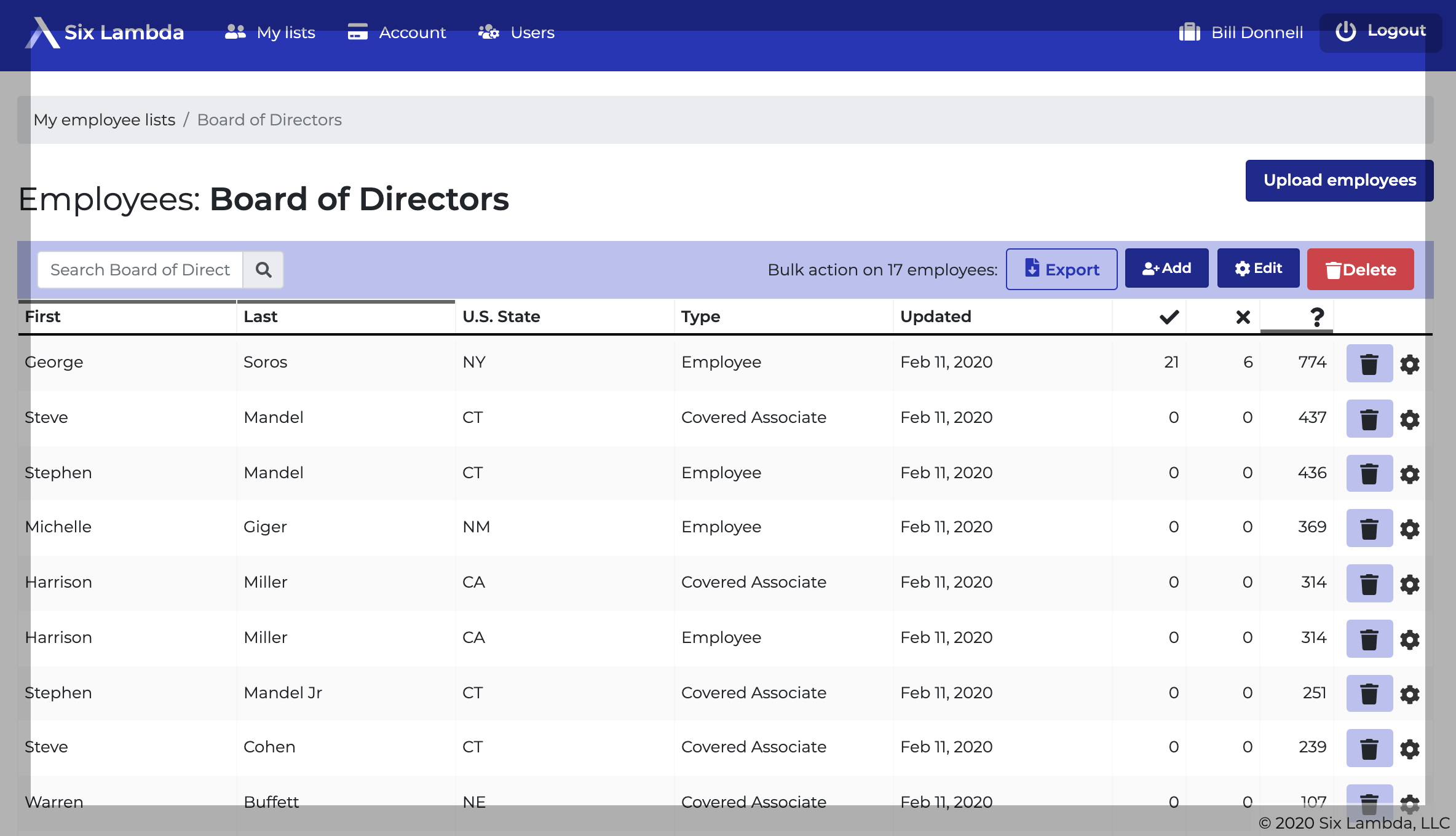 Six Lambda contribution list screenshot