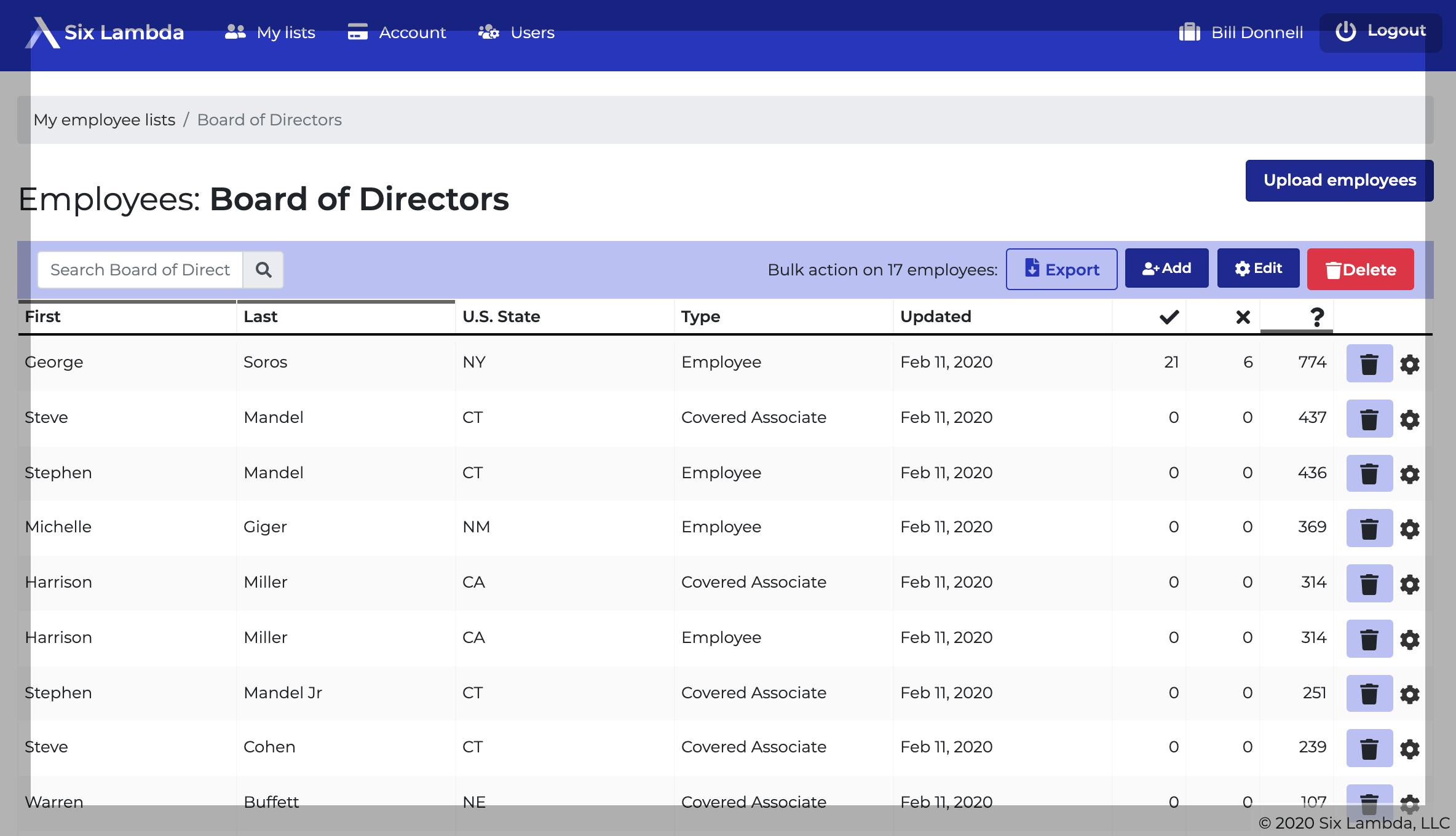 Six Lambda Software - Six Lambda contribution list screenshot