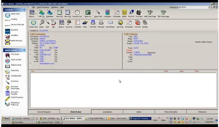 R.O.Writer Software - Item repair order