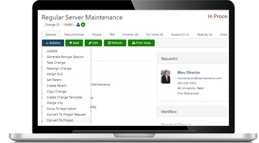 TeamDynamix change management screenshot