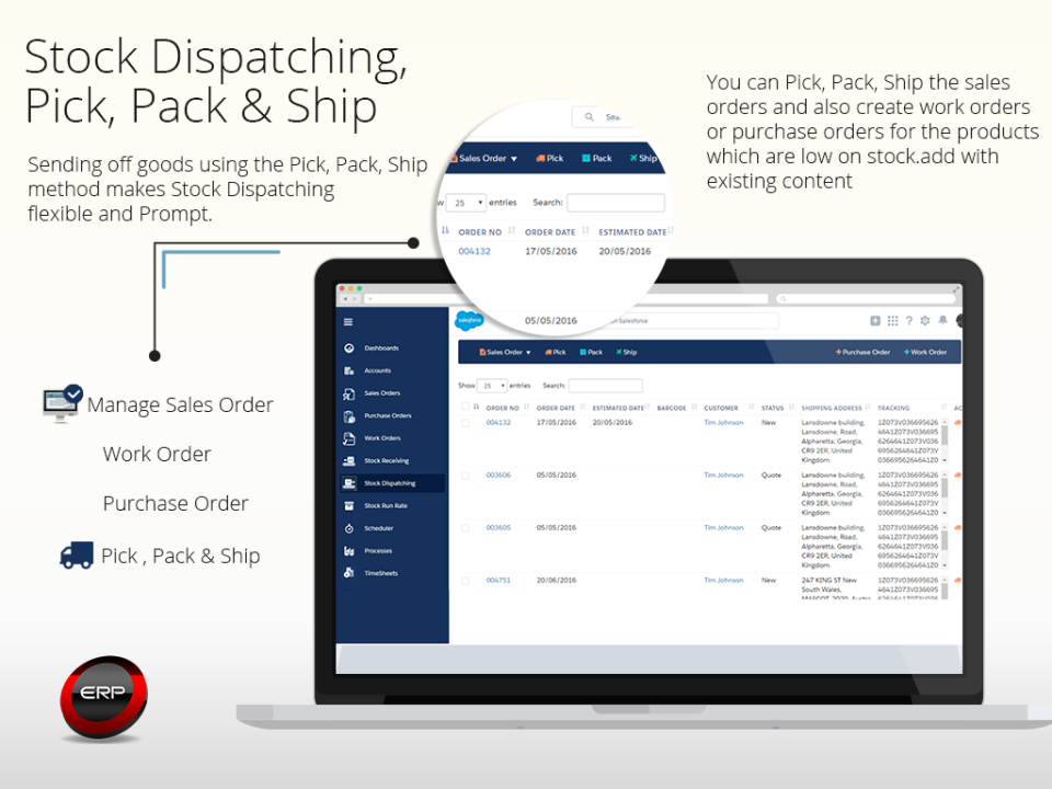 Stock dispatching, pick, pack & ship