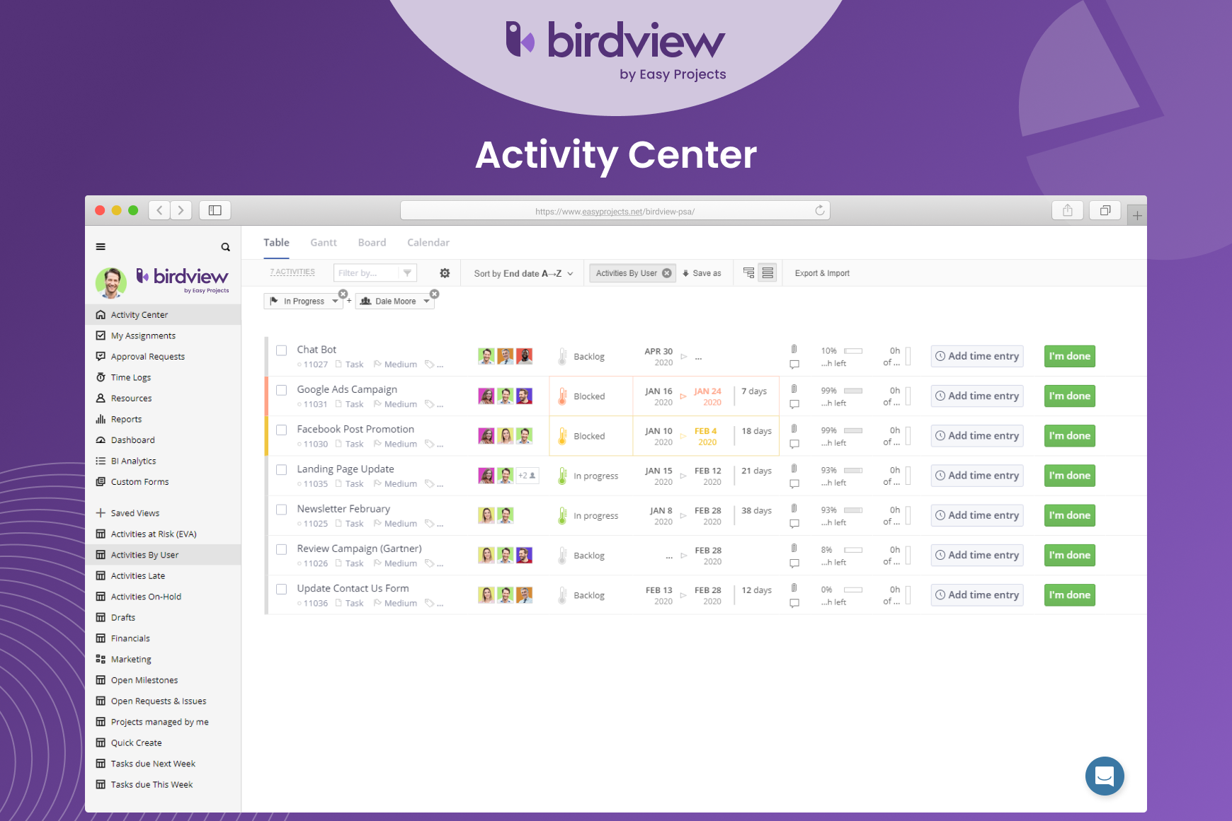 Birdview PSA - Main page of the Activity Center.