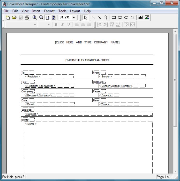 FaxTalk FaxCenter Pro coversheet designer