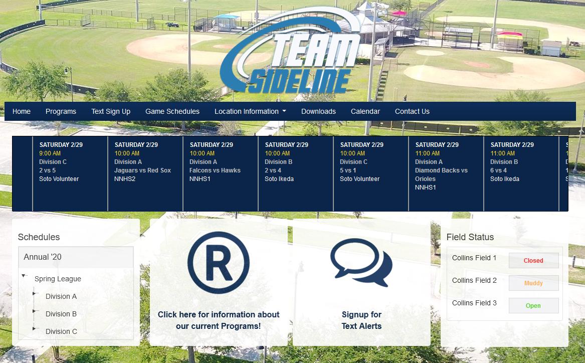TeamSideline location information