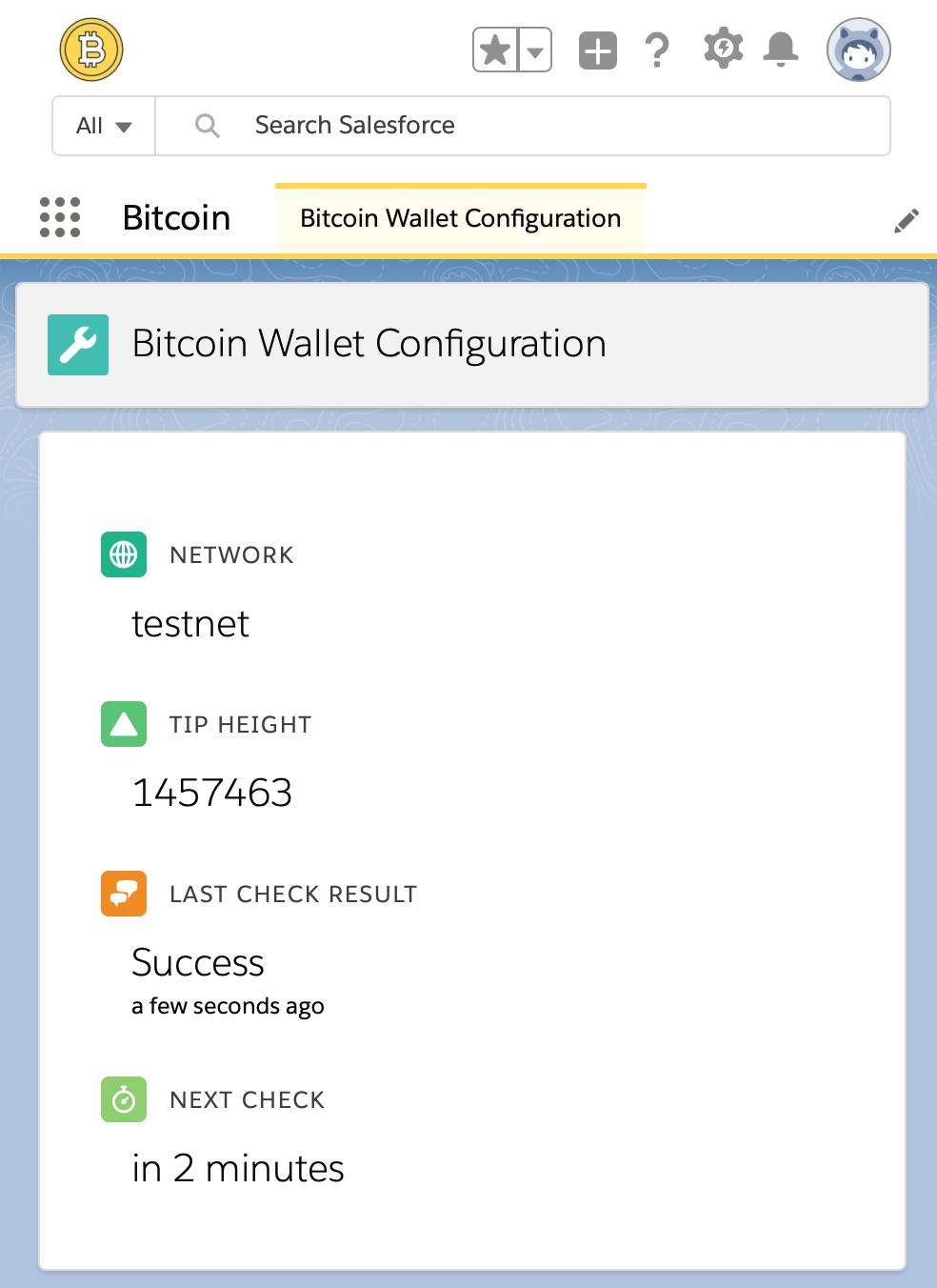 The blockchain status screen