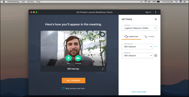 GoToMeeting join meeting preview screenshot