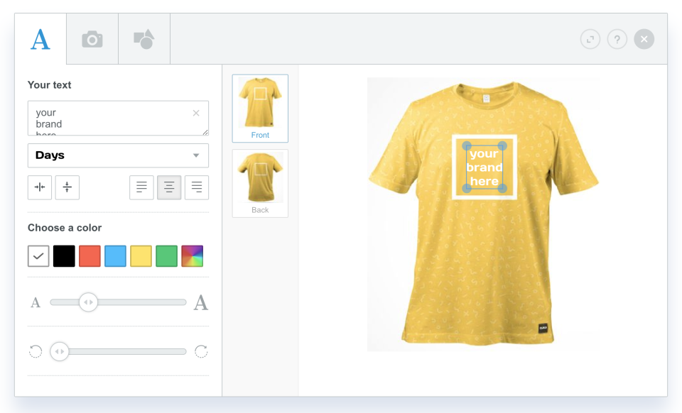 Colorlab  screenshot: Colorlab allows customers to edit and modify products through predefined content templates