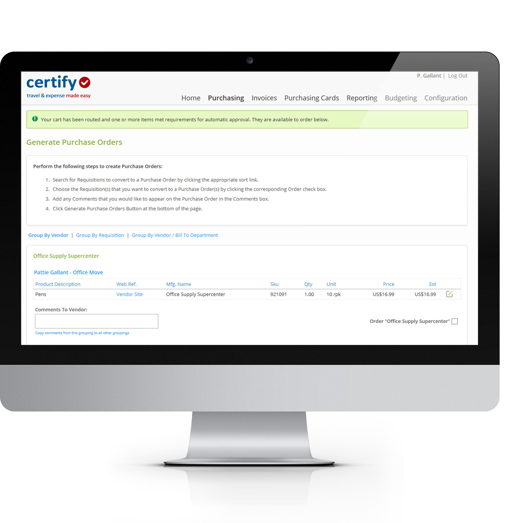 Generate purchase orders electronically and send them to vendors through the Certify AP system