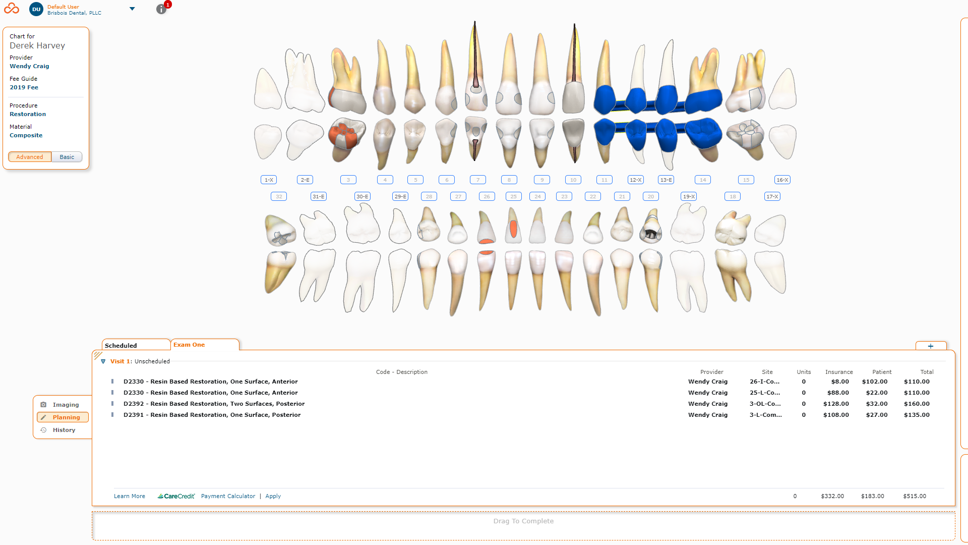 Curve Dental screenshot: Curve Hero | Charting