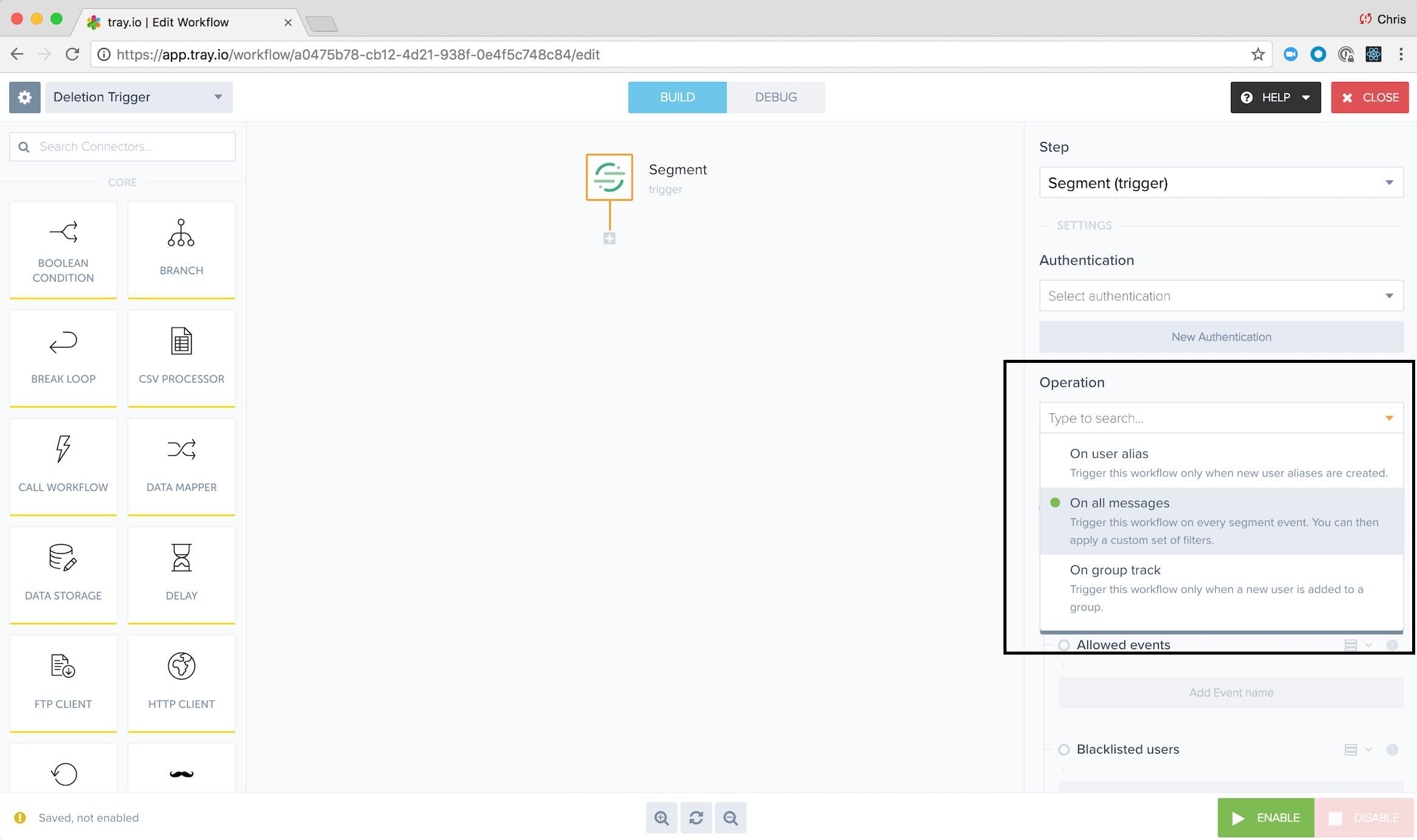 Tray.io Software - Tray.io build workflow