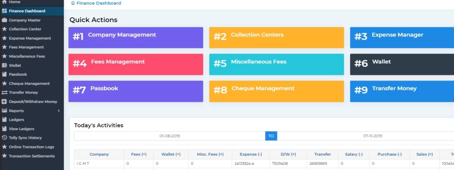 MyClassCampus finance dashboard