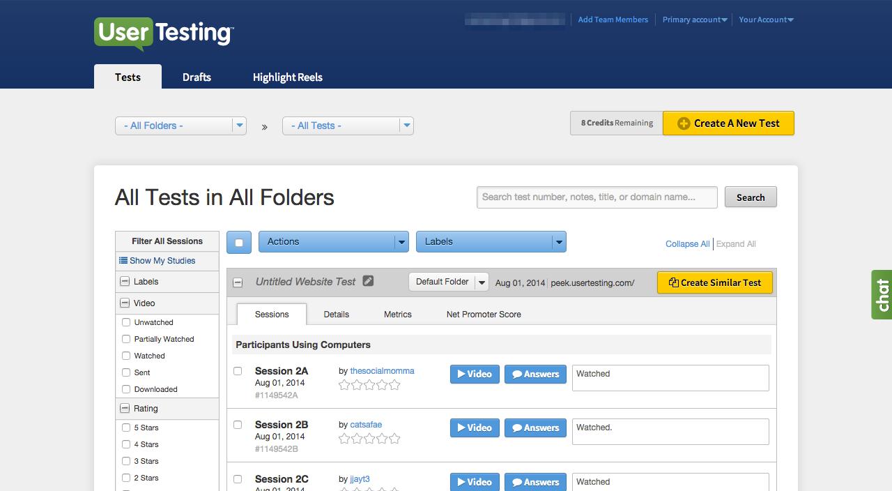 UserTesting create tests