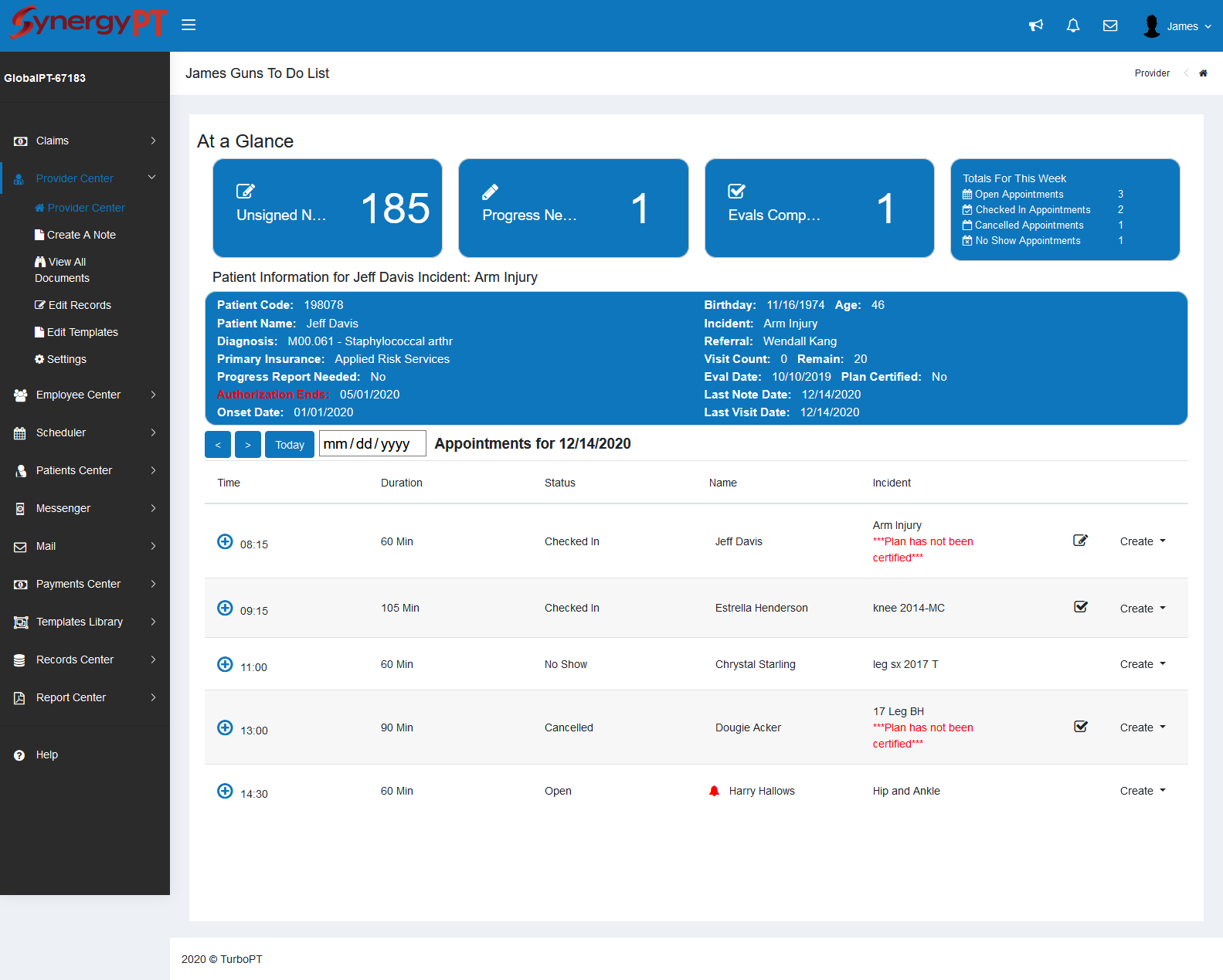 SynergyPT Provider screen