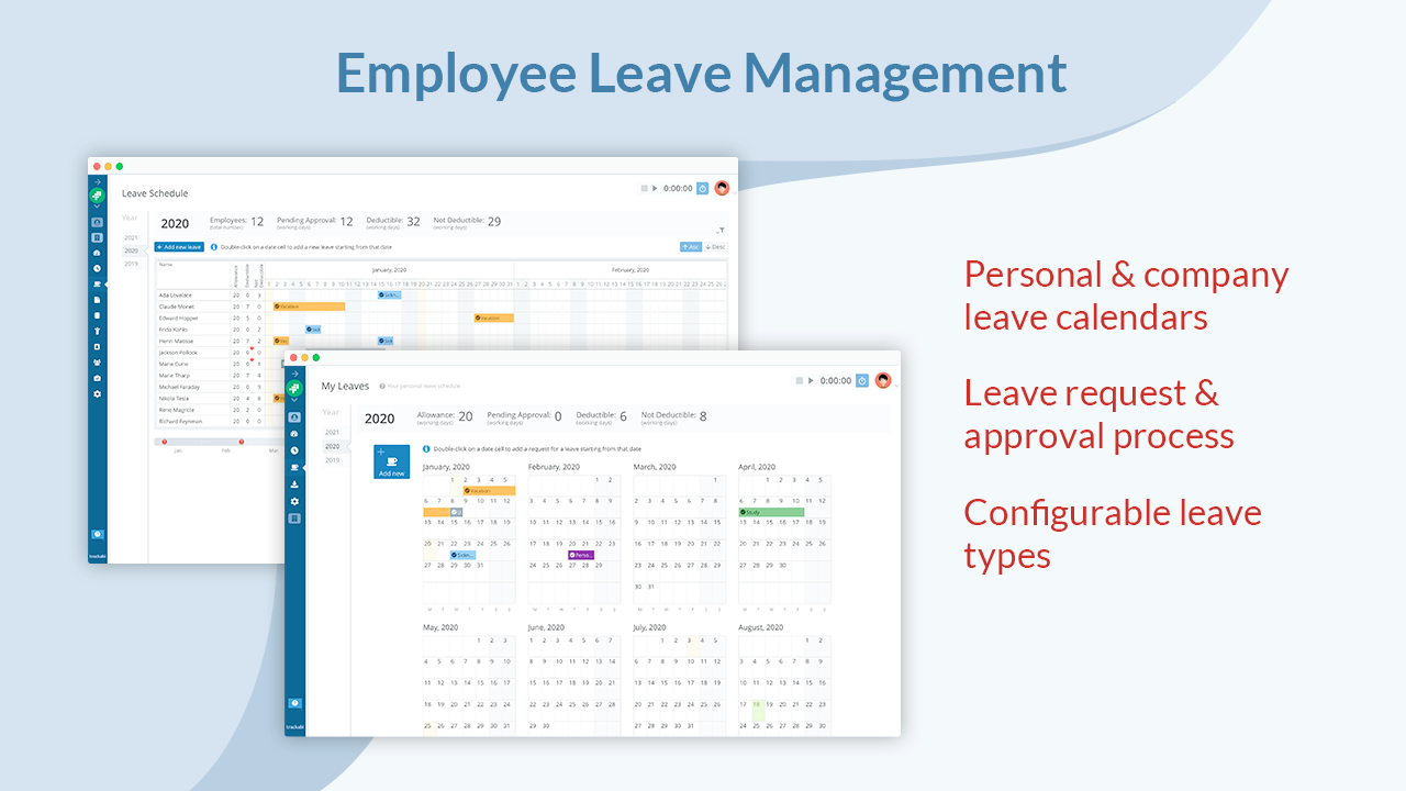 Employee Leave Management Integrated with Timesheets: Personal day-off calendar for every employee and a common leave schedule with the request/approval process. Employee leaves can be within timesheets.